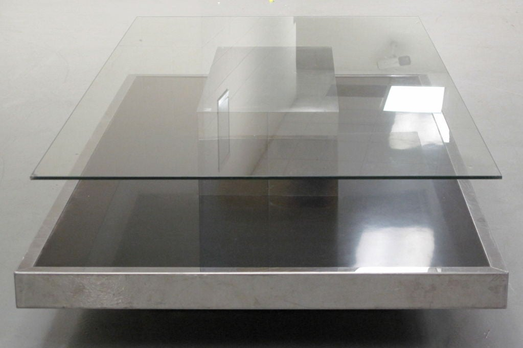 1970 39 s french chrome and black coffee table at 1stdibs Black and chrome coffee table