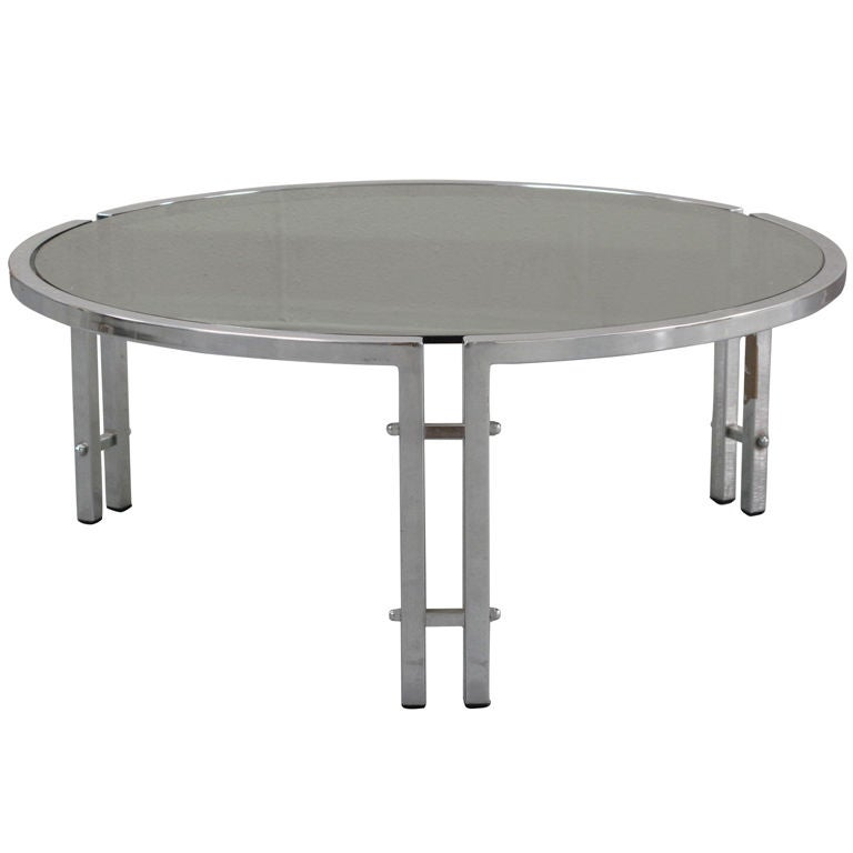 1970 39 S French Round Chrome Coffee Table At 1stdibs