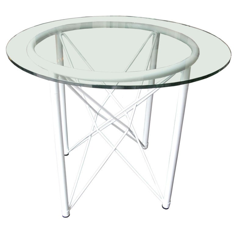 vintage white round metal dining table with glass top at