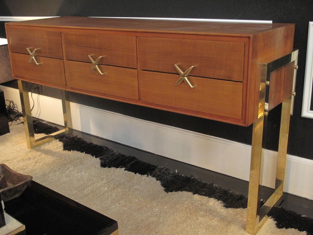 S italian oak wood console with brass pulls at stdibs