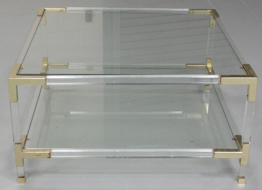 Vintage Lucite And Brass Coffee Table At 1stdibs