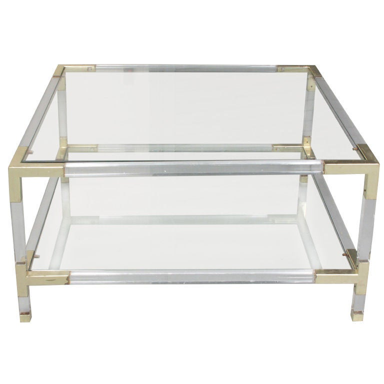 Vintage lucite and brass coffee table at 1stdibs for Lucite and brass coffee table