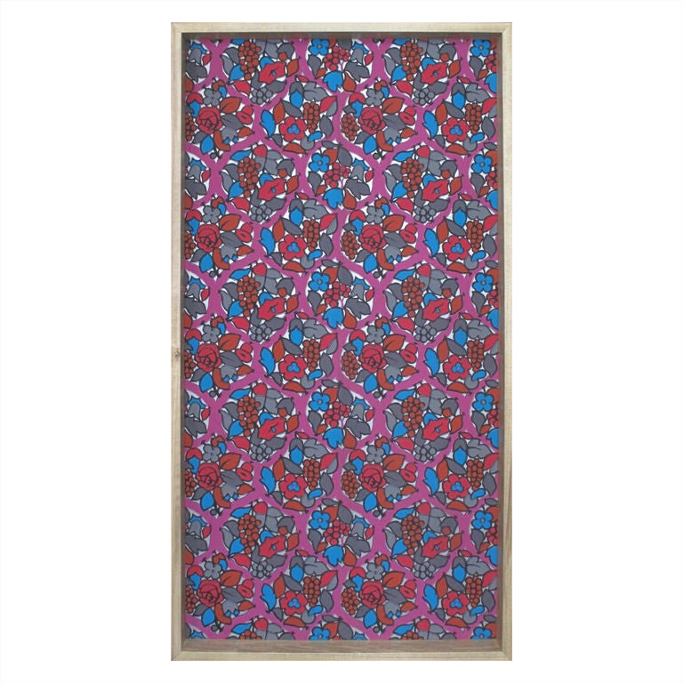 Framed 19th Century Floral Wallpaper Panel - Grapes For Sale
