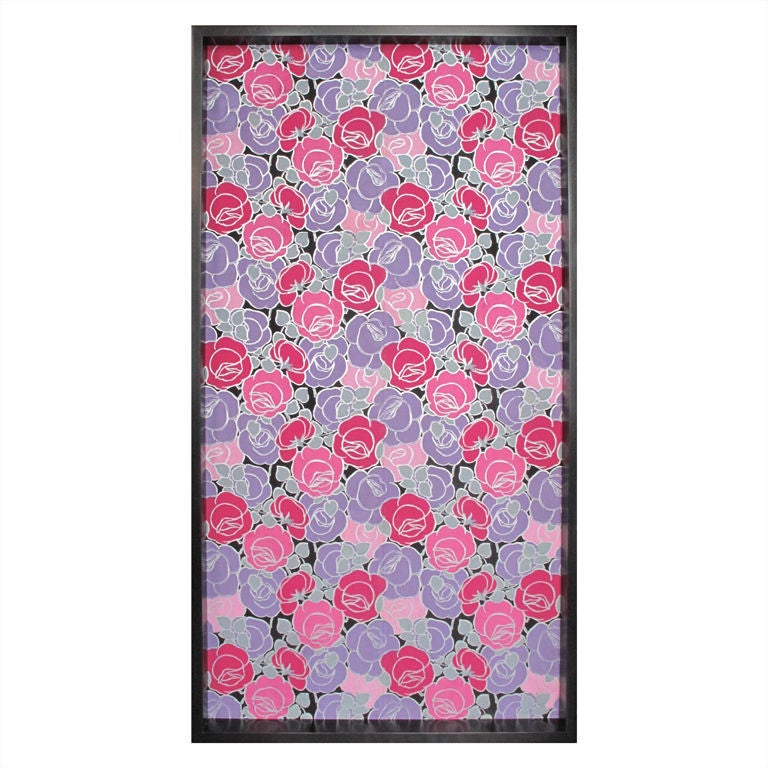 Framed 19th Century Floral Wallpaper Panel - Roses For Sale