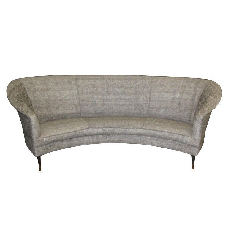 1950 39 S Italian Curved Back Sofa On Metal Legs At 1stdibs