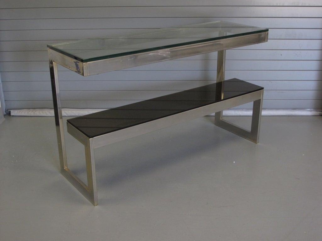 23k Gold Plated Brass And Glass Console Table At 1stdibs