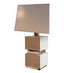 1970s Travertine Block Table Lamp