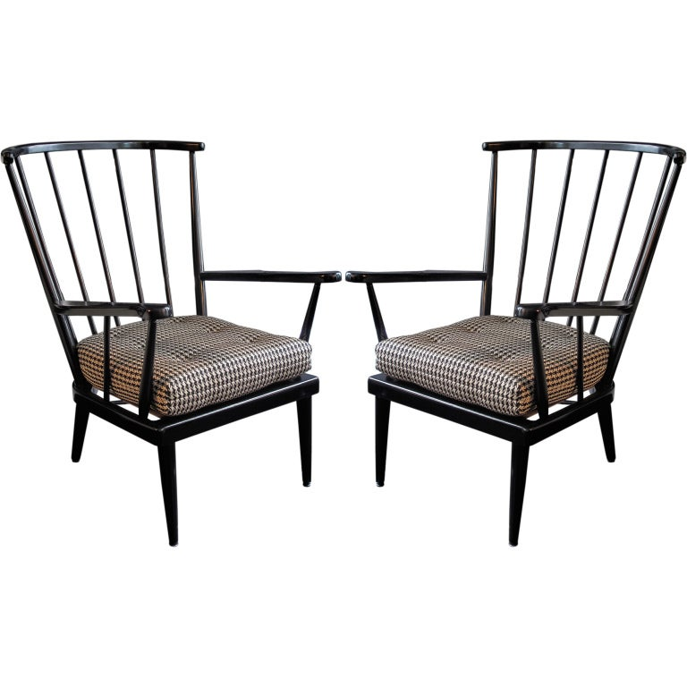 Pair of modernist wooden spindle back arm chairs at stdibs