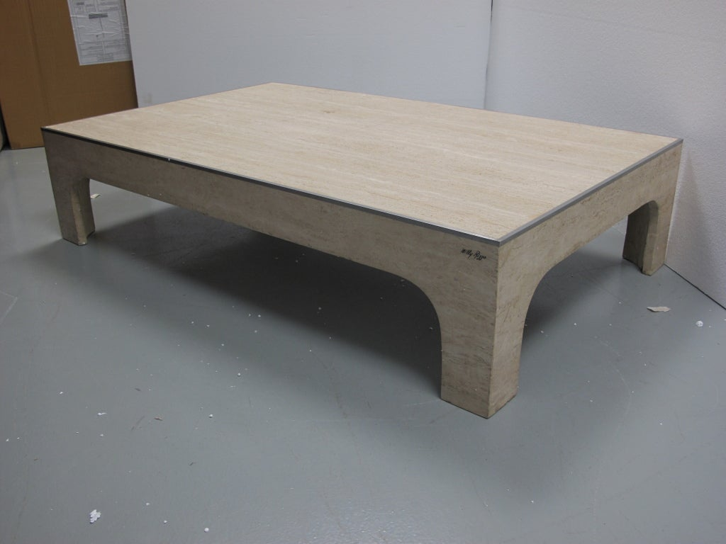 Willy rizzo travertine coffee table at 1stdibs for Table willy rizzo