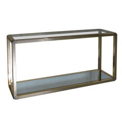 1970s, French Two-Tiered Brass Console Table with Faceted Corners