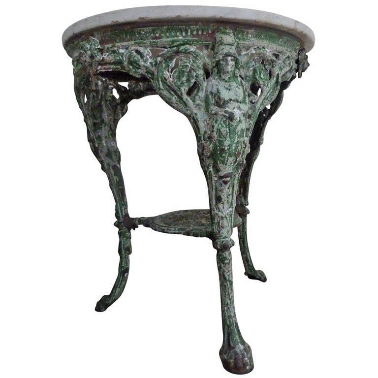 Floating Square Coffee Table In Green And Black Slatelike: French Metal And Marble Table At 1stdibs