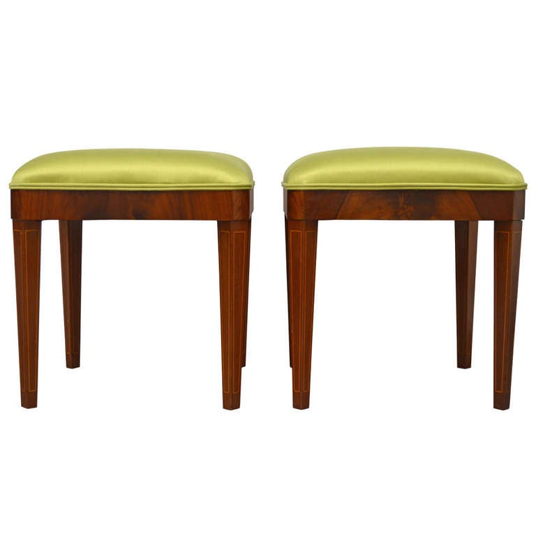 Exceptional Pair of Neoclassical Revival Stools or Benches 1