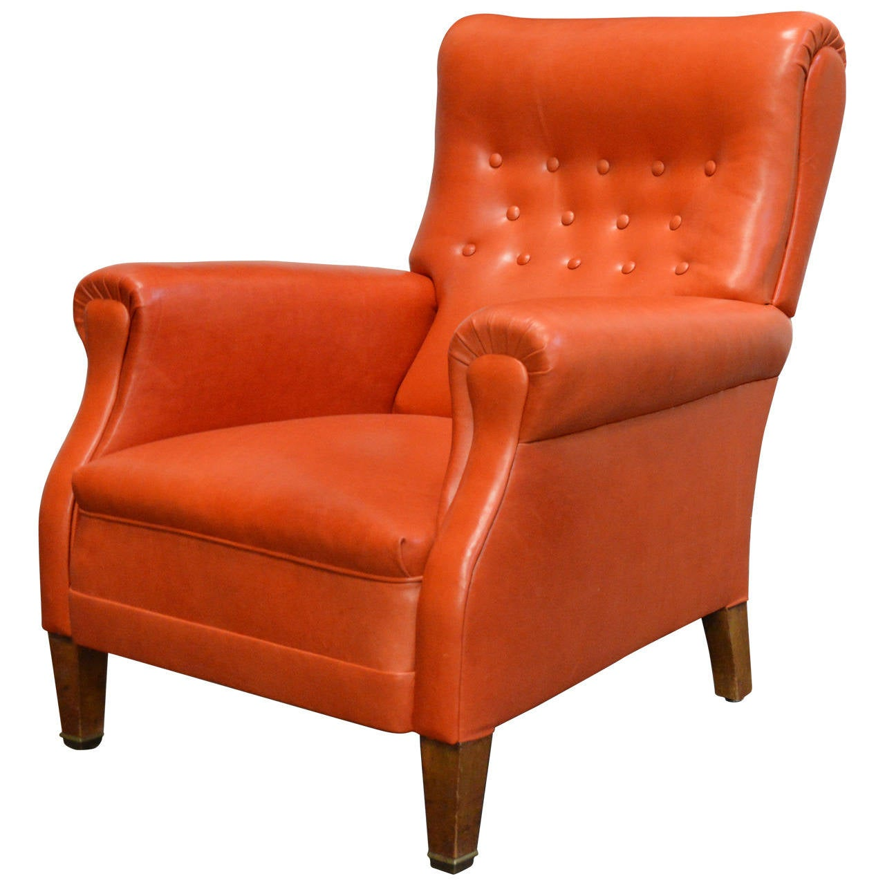 Vintage Swedish Orange Leather Lounge Chair at 1stdibs