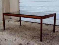 Vintage Exotic Jacaranda and Smoke Glass Coffee Table