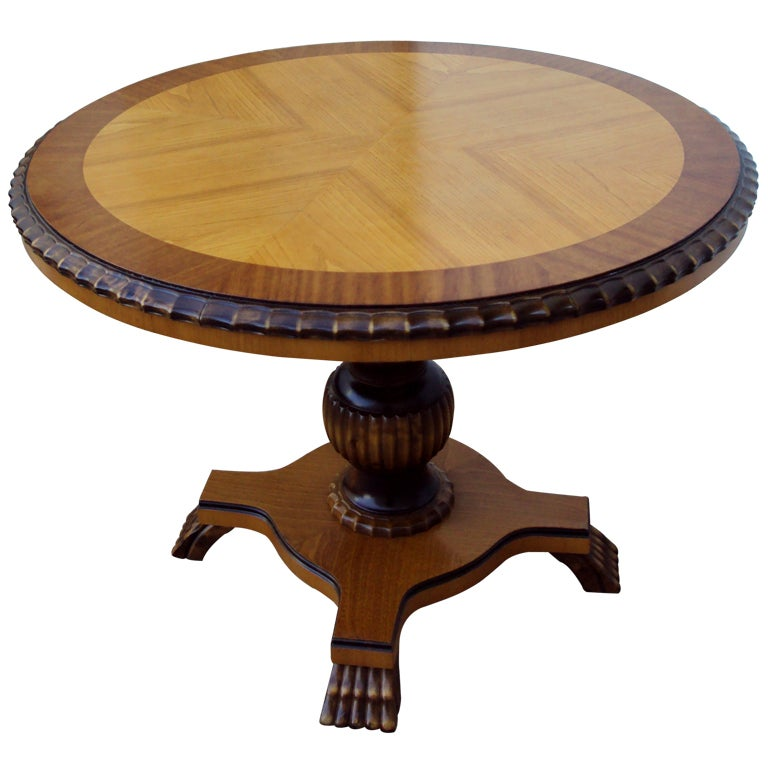 Swedish Art Deco Round Pedestal End Table 1