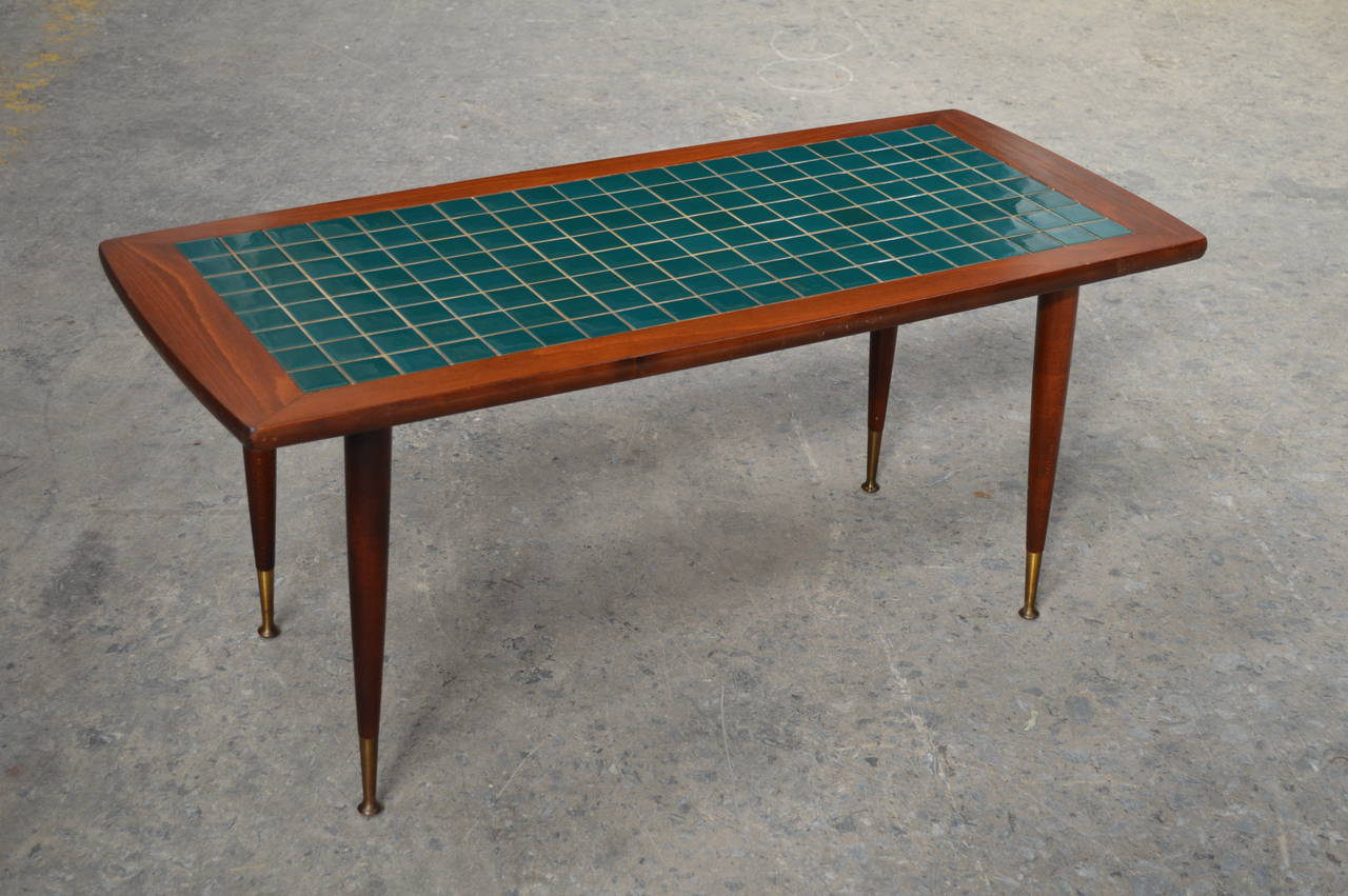 Mid century modern turquoise tile top coffee table at 1stdibs for Tile top coffee table