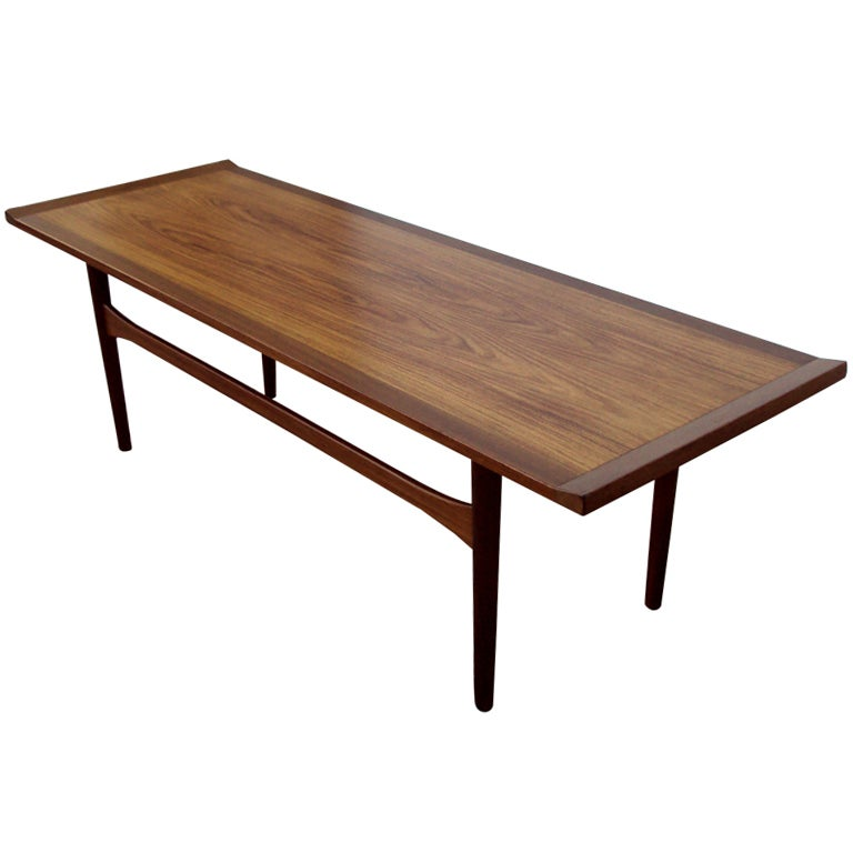 Swedish mid century modern narrow coffee table at 1stdibs for Narrow cocktail table
