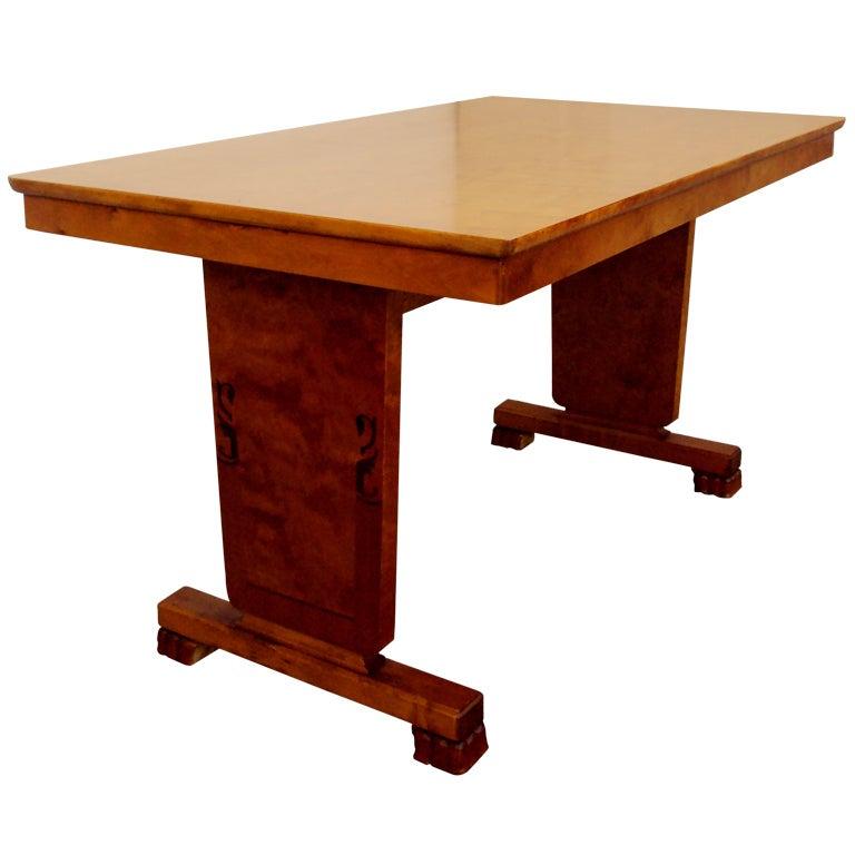 Art Deco Intarsia Bibliotek Dining Table