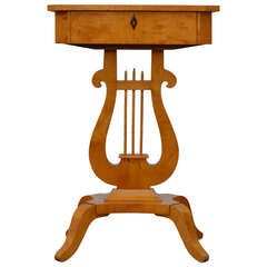 Antique Swedish Karl Johan (Biedermeier) Lyre Pedestal Table