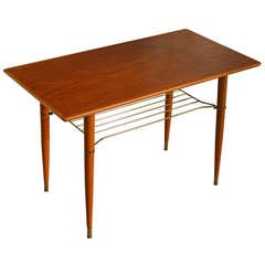 Swedish Mid Century Modern Teak Table with Brass Shelf
