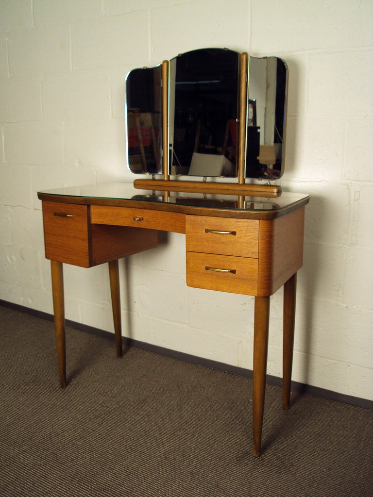 Modern dressing table with mirror - Mid Century Swedish Modern Dressing Table Vanity With Mirror 2
