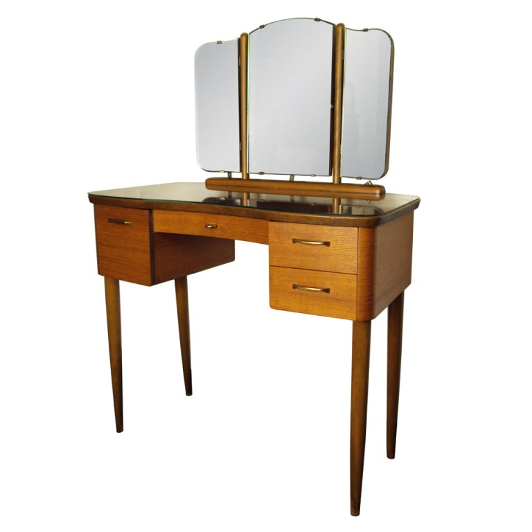 mid century swedish modern dressing table vanity with. Black Bedroom Furniture Sets. Home Design Ideas
