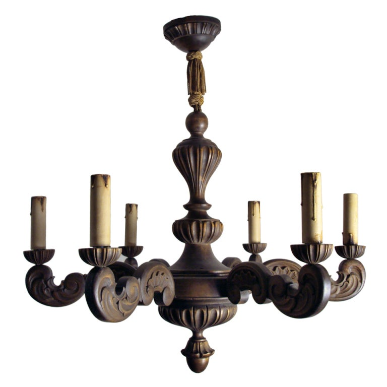 Vintage swedish carved wood rococo style 6 arm chandelier for Wood pendant chandelier