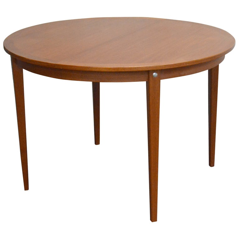 Mid-Century Modern Round Swedish Teak Dining Table For Sale