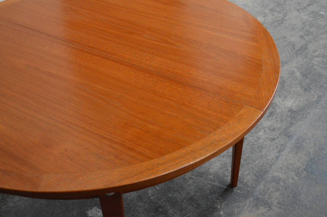 Mid-20th Century Mid-Century Modern Round Swedish Teak Dining Table For Sale
