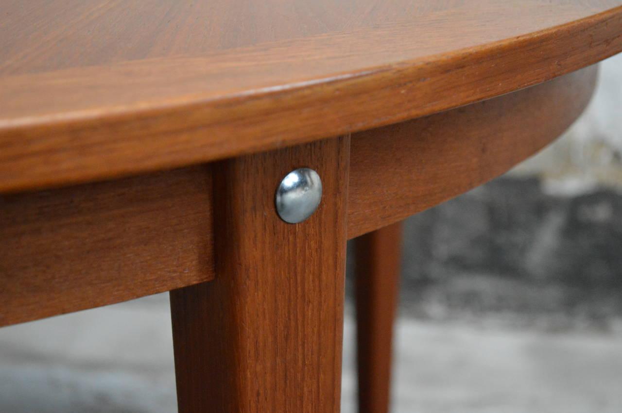 Mid-20th Century Mid-Century Modern Round Swedish Teak Dining Table For Sale