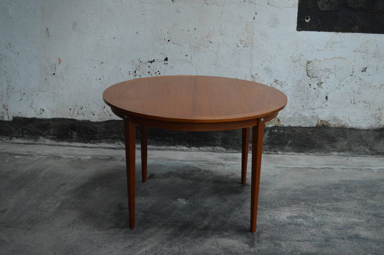 mid century modern round swedish teak dining table for sale at 1stdibs