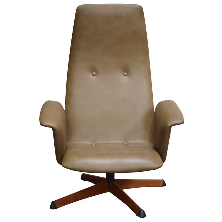 Vintage Swedish Mid Century Leather Swivel Arm Chair For