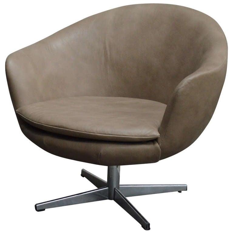 Vintage Swedish Mid Century Leather Swivel Arm Chair at