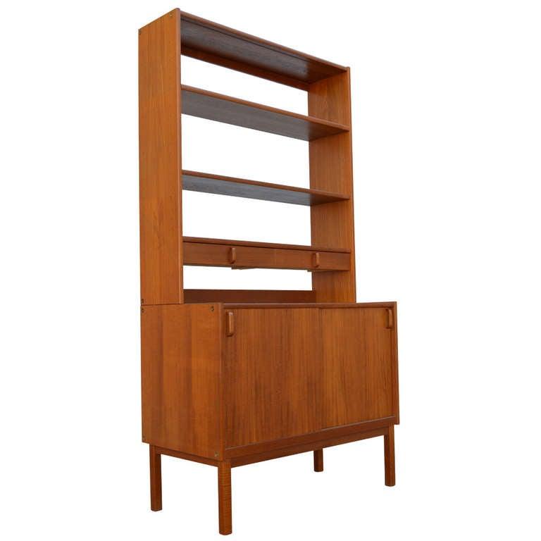 Swedish Mid-Century Modern Teak Storage Bookcase By Bodafors 1