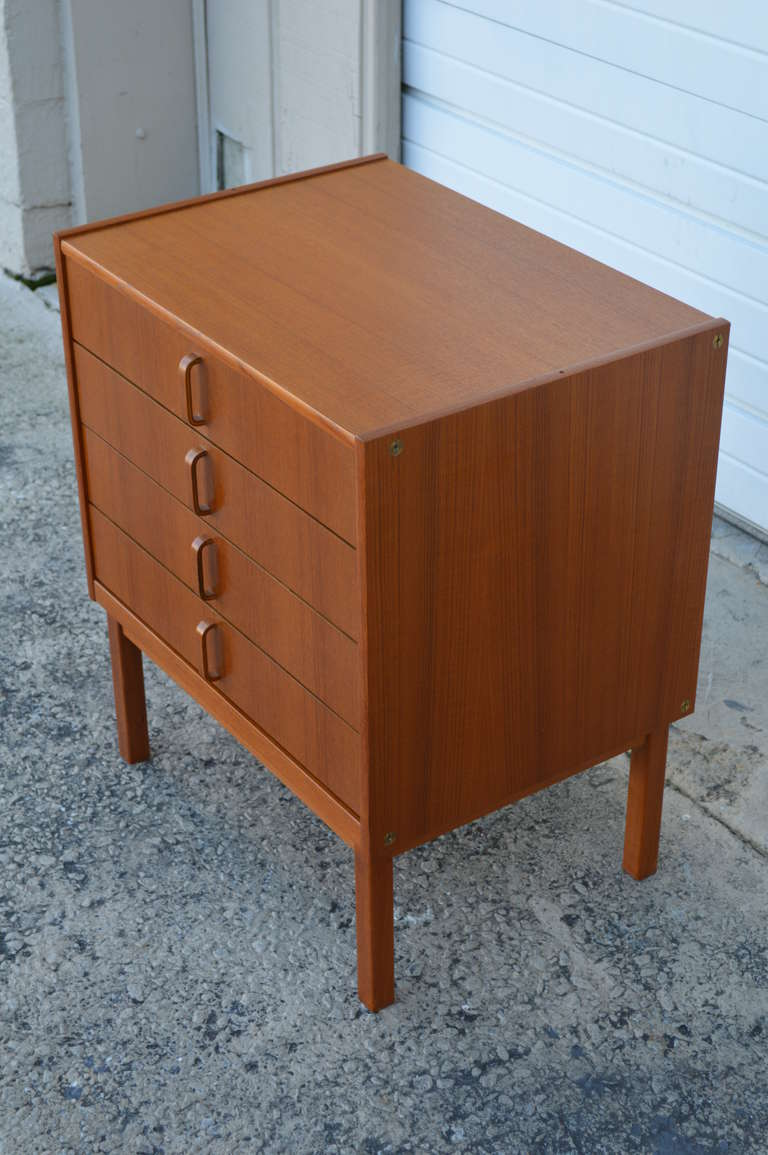 Swedish modern mid century teak four drawer chest or for Modern nightstands for sale