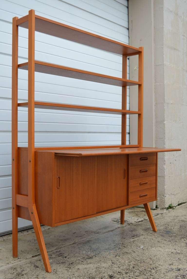 Swedish Mid Century Modern Teak Desk And Hutch 2