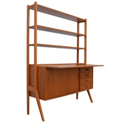 Swedish Mid-Century Modern Teak Desk and Hutch