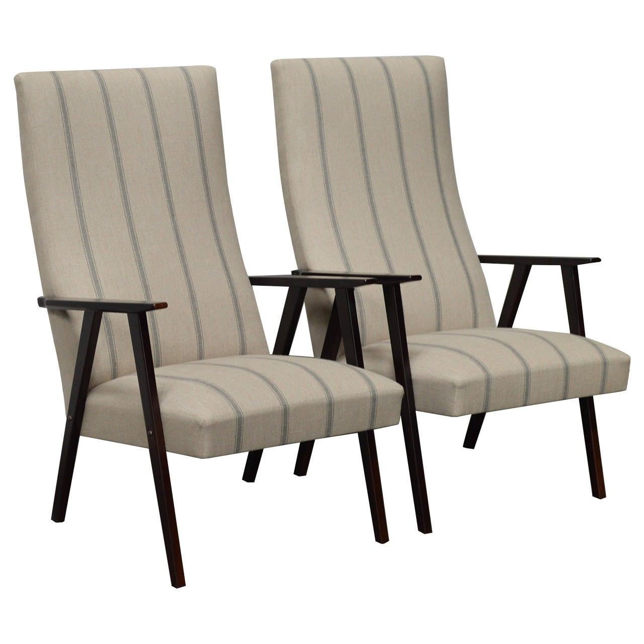 Pair of Swedish Mid-Century Modern High Back Lounge Armchairs