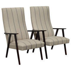 Pair of Swedish Mid-Century Modern High Back Lounge Armchairs
