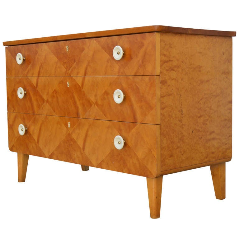 Swedish Harlequin Diamond Parquetry Chest of Drawers For Sale
