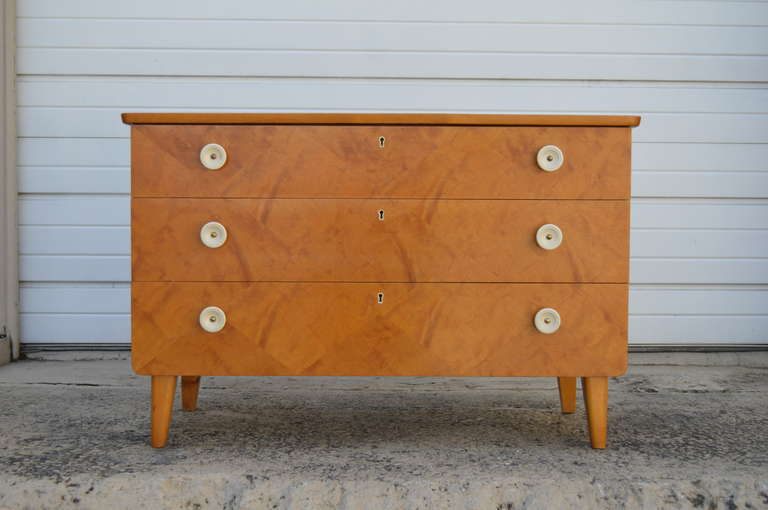 Art Deco Swedish Harlequin Diamond Parquetry Chest of Drawers For Sale