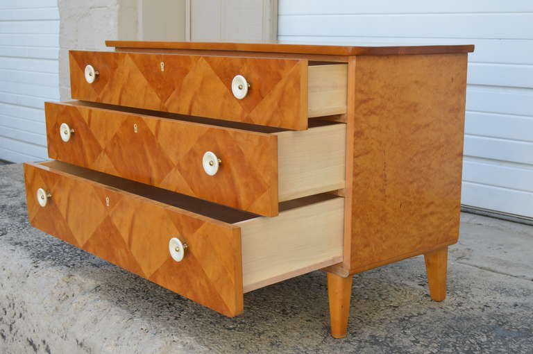 Acrylic Swedish Harlequin Diamond Parquetry Chest of Drawers For Sale