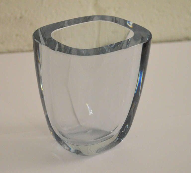 Swedish Art Glass Crystal Vase By Strombergshyttan For