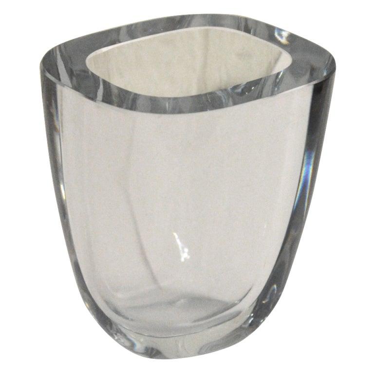 Swedish Art Glass Crystal Vase by Strombergshyttan