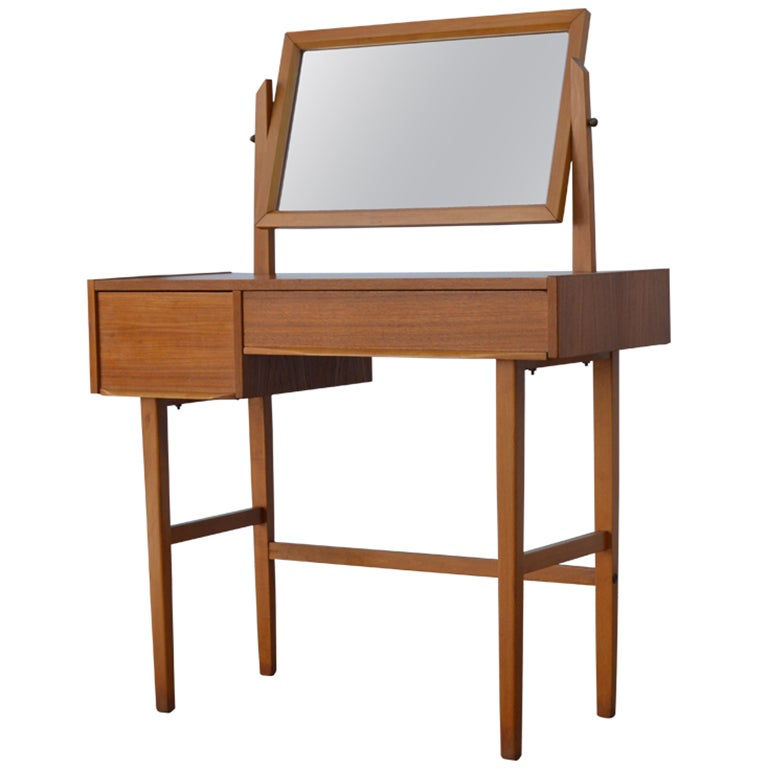 Mid Century Swedish Modern Dressing Table Vanity With Mirror At 1stdibs