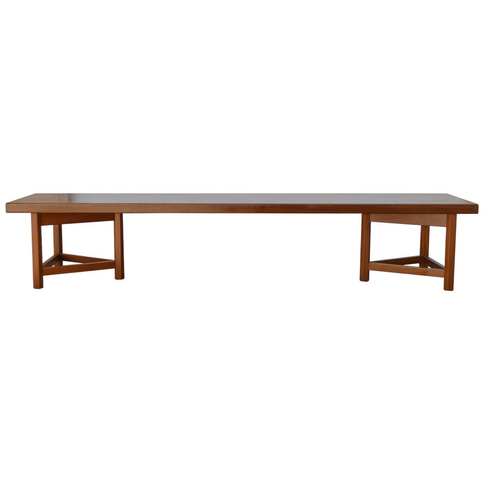 Mid-Century Long Low Solid Teak Plank Bench or Table