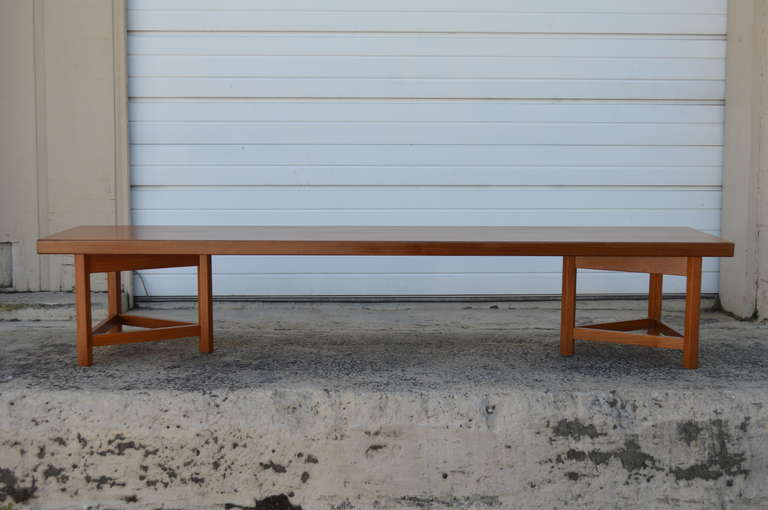 Interesting modern Scandinavian bench in solid teak top resting on triangular bases which can be moved and turned to create different looks. Excellent vintage condition. Can be used as a low coffee table or as an interesting bench.