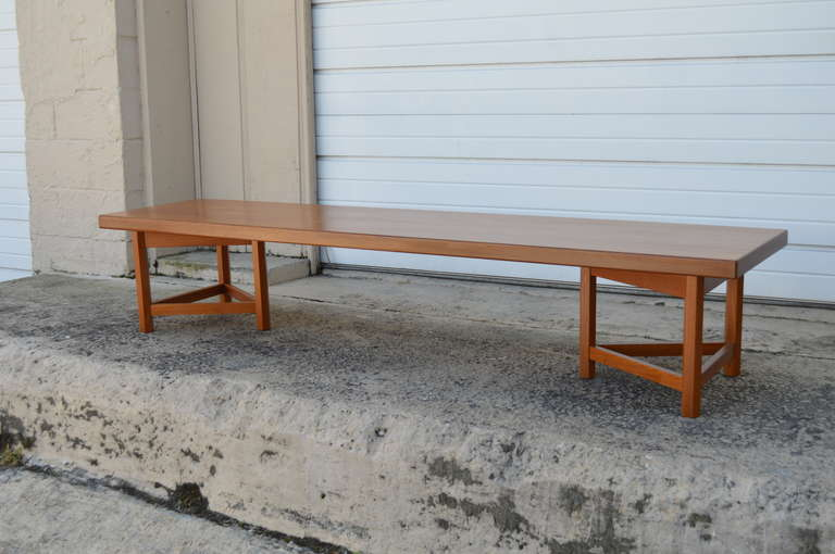 Scandinavian Modern Mid-Century Long Low Solid Teak Plank Bench or Table For Sale