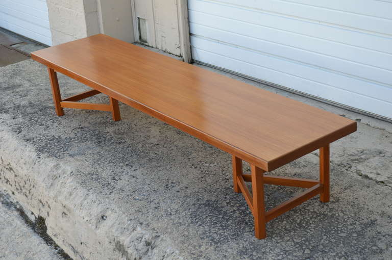 Swedish Mid-Century Long Low Solid Teak Plank Bench or Table For Sale