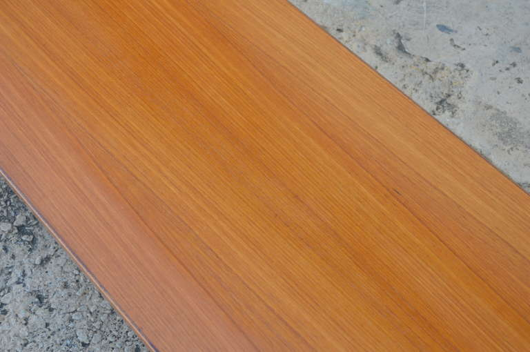 Mid-Century Long Low Solid Teak Plank Bench or Table 5